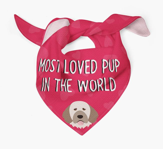 'Most Loved Pup in the World' - Personalised Portuguese Water Dog Bandana