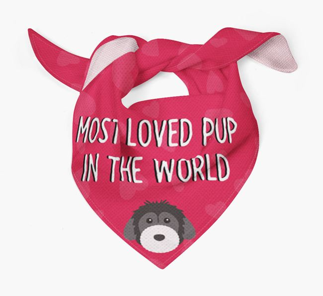 'Most Loved Pup in the World' - Personalised Powderpuff Chinese Crested Bandana