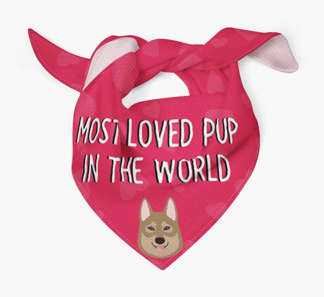 'Most Loved Pup in the World' - Personalised Tamaskan Bandana