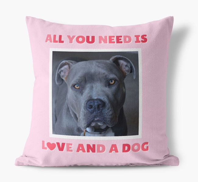 Photo Upload Canvas Cushion 'All you need' - Personalized for your American Pit Bull Terrier