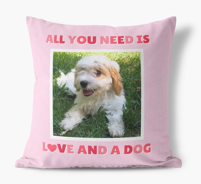 Photo Upload Canvas Cushion 'All you need' - Personalized for your Cavachon