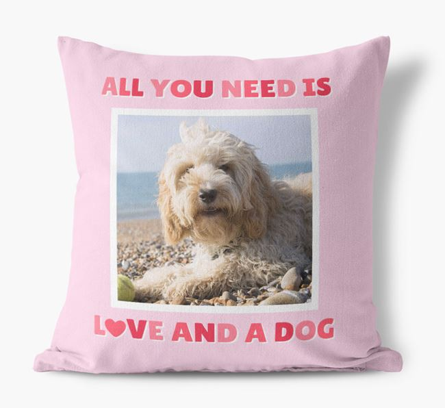 Photo Upload Canvas Cushion 'All you need' - Personalized for your Cockapoo