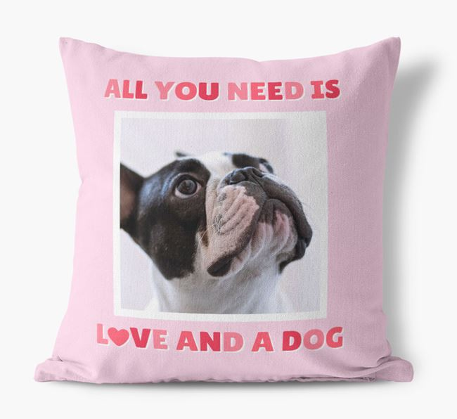 Photo Upload Canvas Cushion 'All you need' - Personalized for your French Bulldog