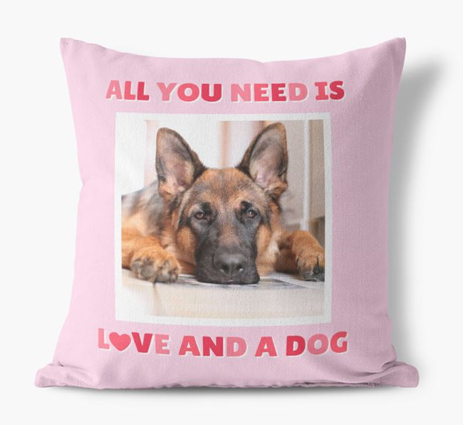 Photo Upload Canvas Cushion 'All you need' - Personalized for your German Shepherd