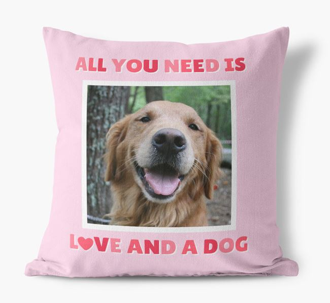 Photo Upload Canvas Cushion 'All you need' - Personalized for your Golden Retriever