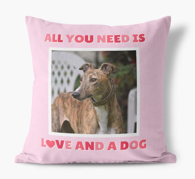 Photo Upload Canvas Cushion 'All you need' - Personalized for your Greyhound