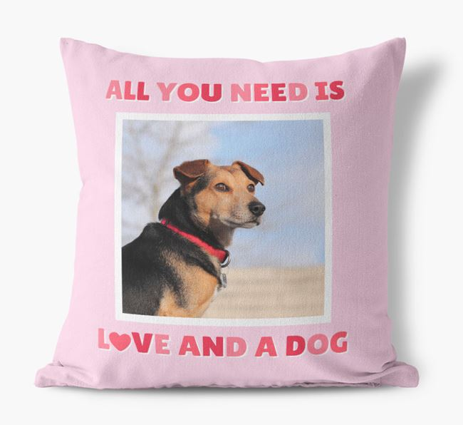 Photo Upload Canvas Cushion 'All you need' - Personalized for your Jackahuahua