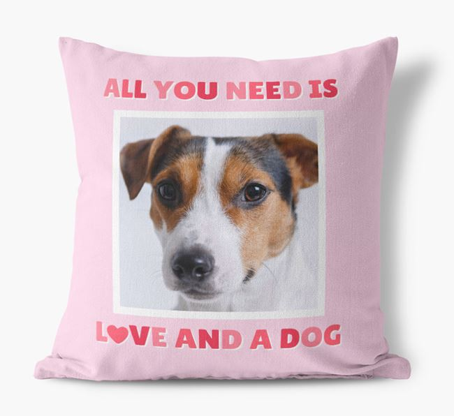 Photo Upload Canvas Cushion 'All you need' - Personalized for your Jack Russell Terrier