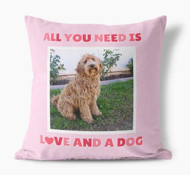 Photo Upload Canvas Cushion 'All you need' - Personalized for your Labradoodle