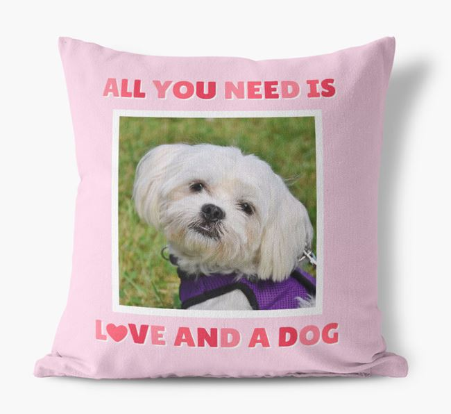 Photo Upload Canvas Cushion 'All you need' - Personalized for your Maltese