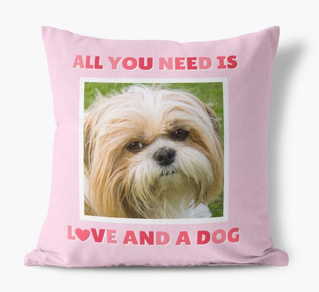 Photo Upload Canvas Cushion 'All you need' - Personalized for your Shih Tzu