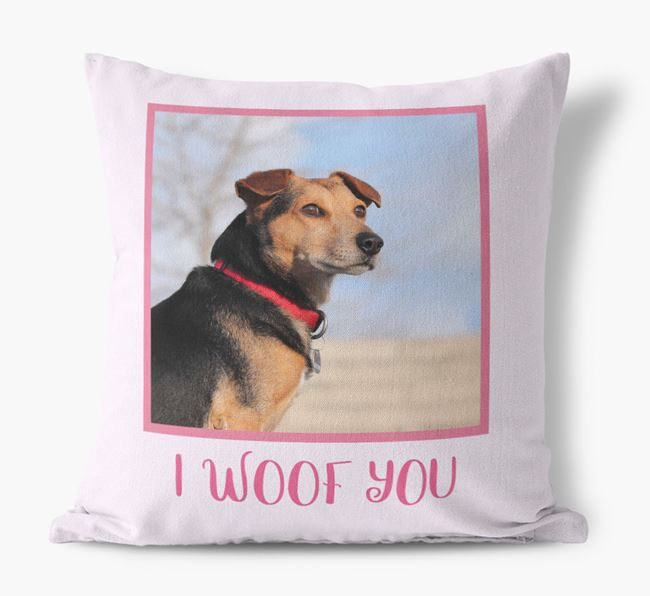 Photo Upload Canvas Cushion 'I woof you' - Personalized for you Bearded Collie