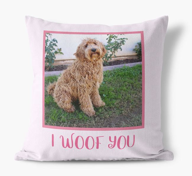 Photo Upload Canvas Cushion 'I woof you' - Personalized for you Labradoodle