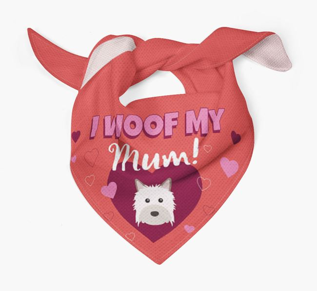 'I Woof My Mum' - Personalised Powderpuff Chinese Crested Bandana