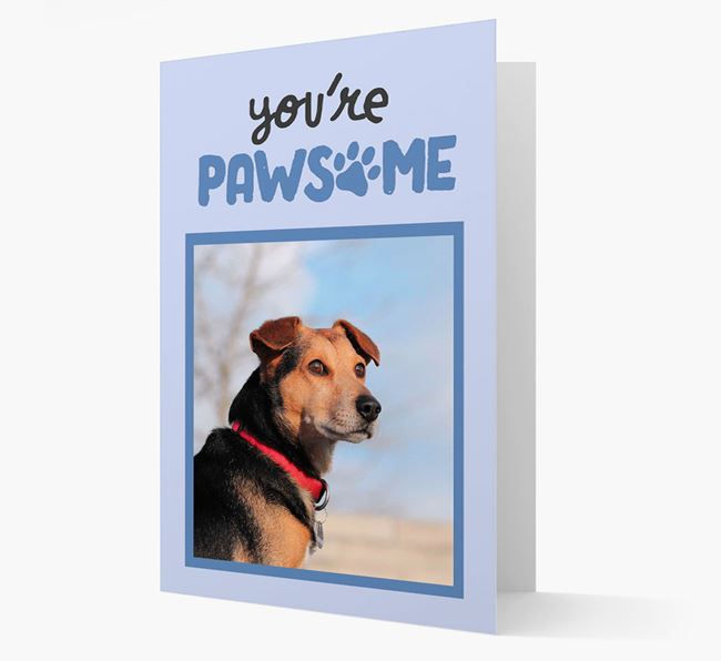 'You're Pawsome' - Bearded Collie Photo Upload Card