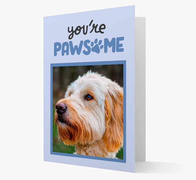 'You're Pawsome' - Goldendoodle Photo Upload Card