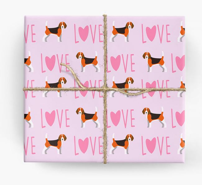 'Love' - Personalised Beagle Wrapping Paper