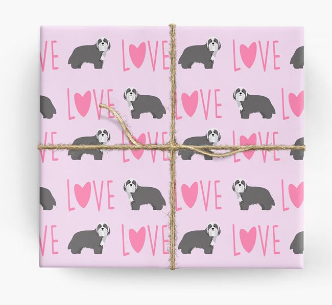 'Love' - Personalized Bearded Collie Wrapping Paper