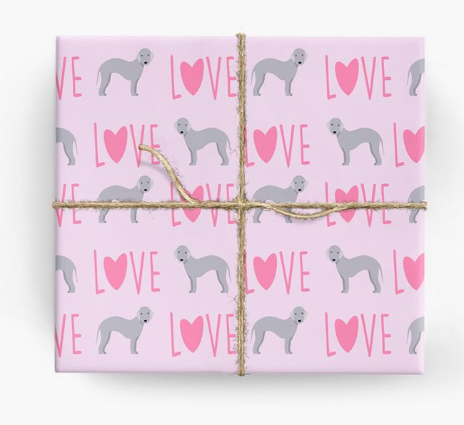 'Love' - Personalized Bedlington Terrier Wrapping Paper