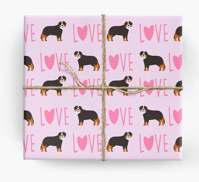 'Love' - Personalized Bernese Mountain Dog Wrapping Paper