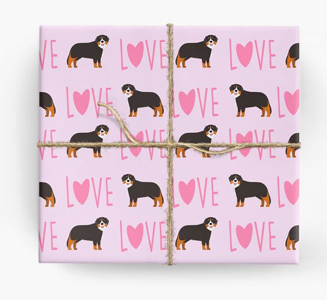 'Love' - Personalised Bernese Mountain Dog Wrapping Paper