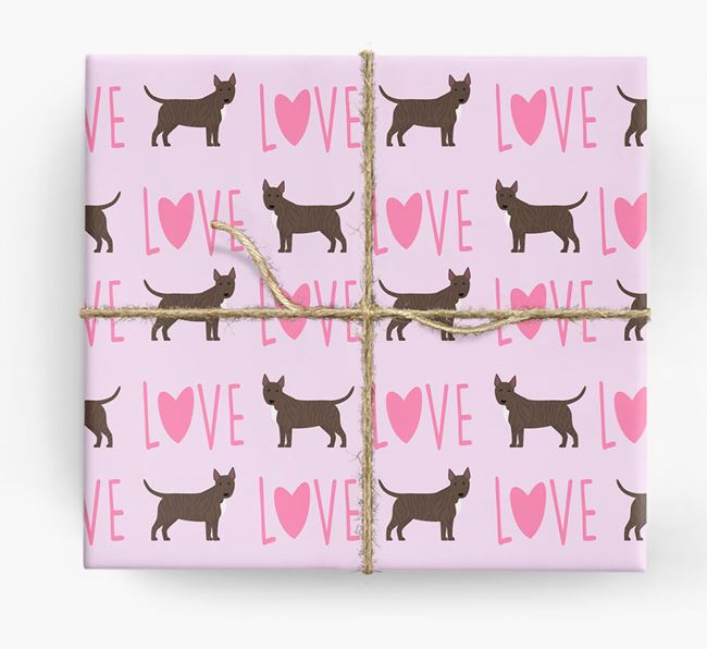 'Love' - Personalized Bull Terrier Wrapping Paper