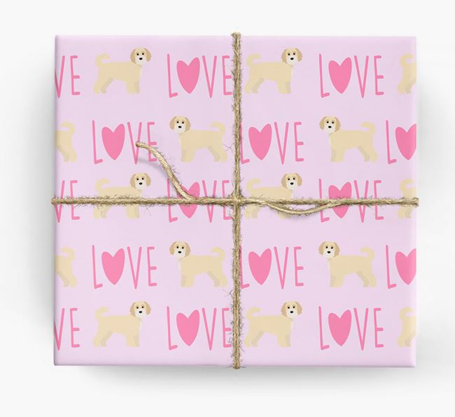 'Love' - Personalized Cavapoochon Wrapping Paper