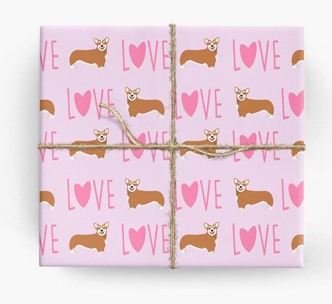 'Love' - Personalised Corgi Wrapping Paper