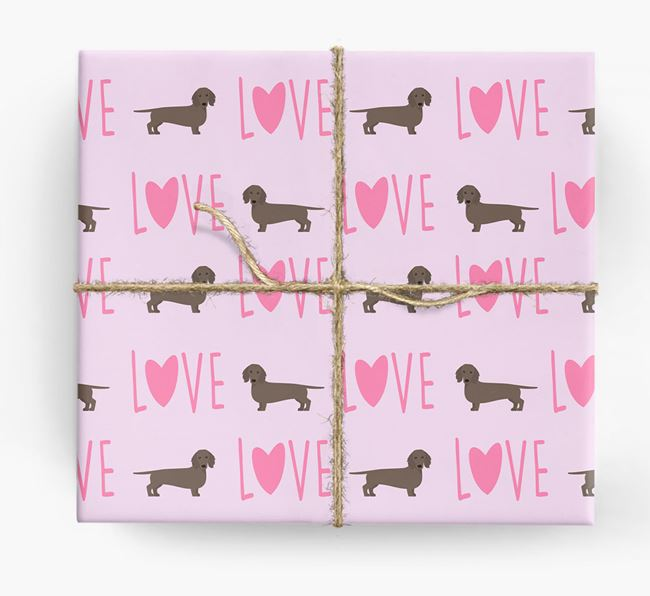 'Love' - Personalized Dachshund Wrapping Paper