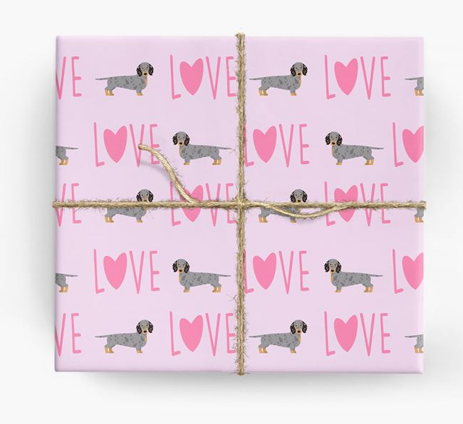 'Love' - Personalised Dachshund Wrapping Paper