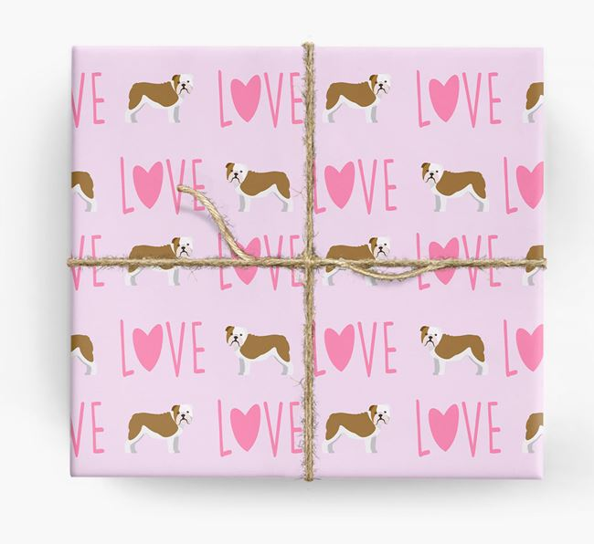 'Love' - Personalized English Bulldog Wrapping Paper