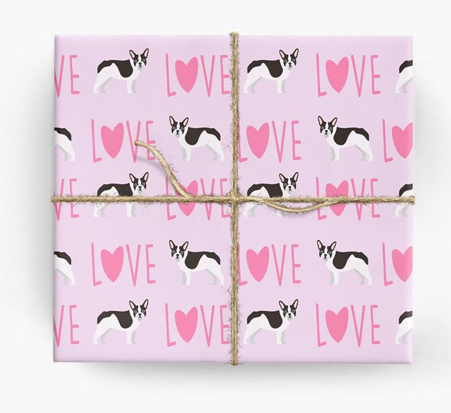 'Love' - Personalised French Bulldog Wrapping Paper