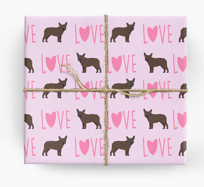 'Love' - Personalized French Bulldog Wrapping Paper