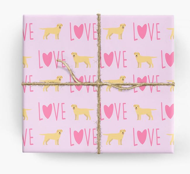 'Love' - Personalized Golden Labrador Wrapping Paper
