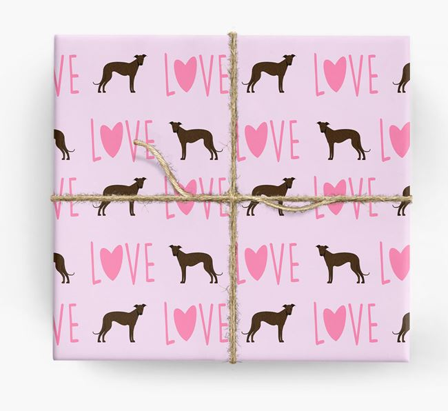 'Love' - Personalised Greyhound Wrapping Paper