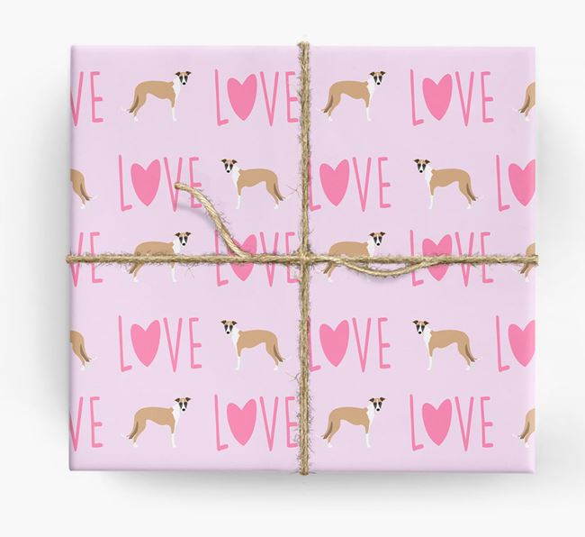 'Love' - Personalised Lurcher Wrapping Paper