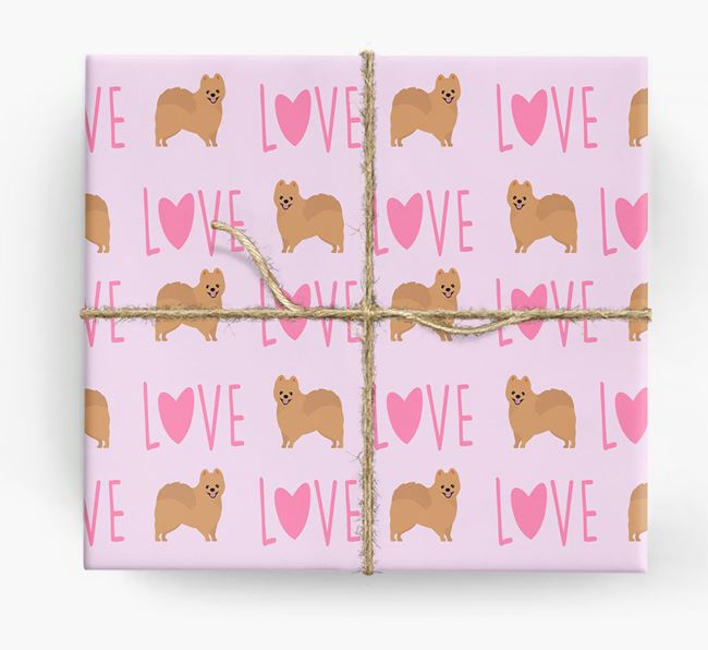 'Love' - Personalised Pomeranian Wrapping Paper