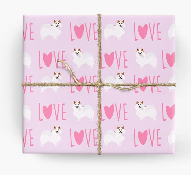 'Love' - Personalized Pomeranian Wrapping Paper