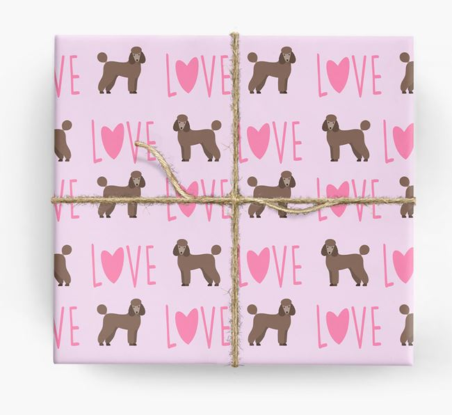 'Love' - Personalised Poodle Wrapping Paper