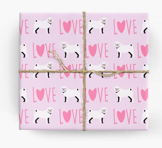 'Love' - Personalised Pug Wrapping Paper