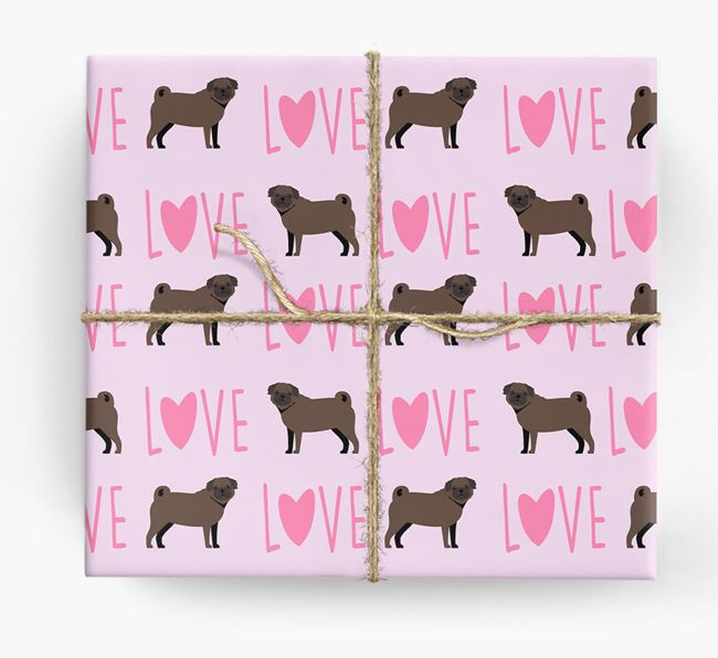 'Love' - Personalized Pug Wrapping Paper