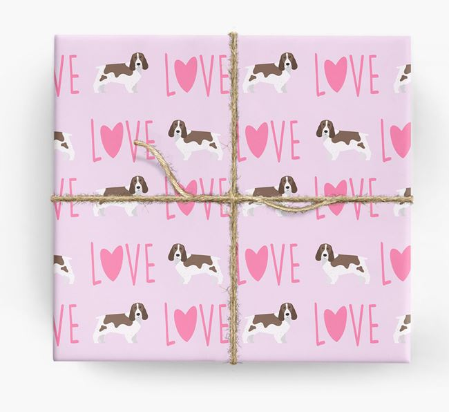 'Love' - Personalised Springer Spaniel Wrapping Paper