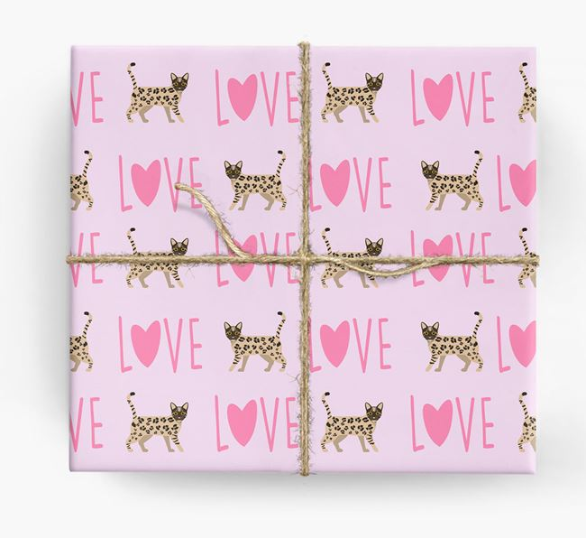 'Love' - Personalized Bengal Wrapping Paper