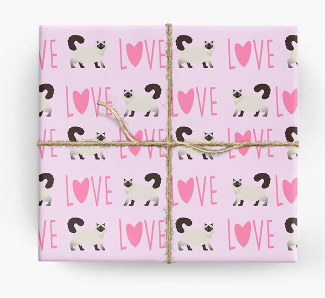 'Love' - Personalized Cat Wrapping Paper