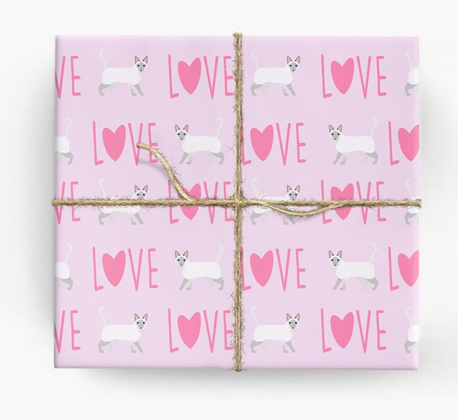 'Love' - Personalised Siamese Wrapping Paper
