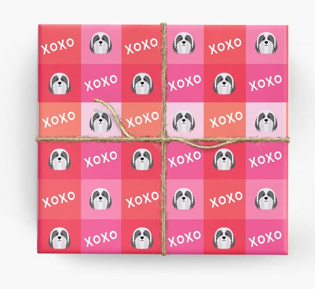 'XOXO' - Personalized Bearded Collie Wrapping Paper