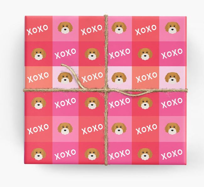 'XOXO' - Personalized Cavapoochon Wrapping Paper