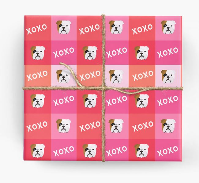 'XOXO' - Personalized English Bulldog Wrapping Paper