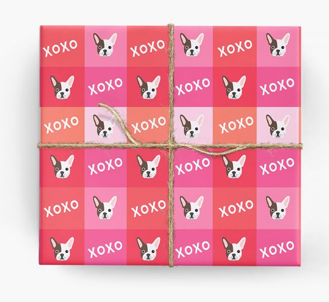 'XOXO' - Personalised French Bulldog Wrapping Paper