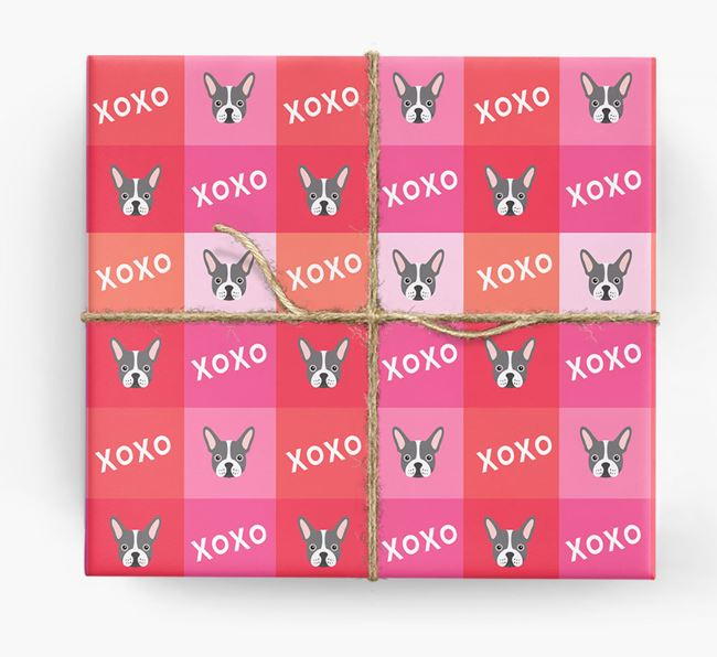 'XOXO' - Personalized French Bulldog Wrapping Paper